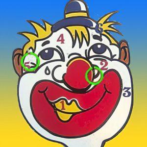 ringwerpen clown hoofd gezelschapsspel